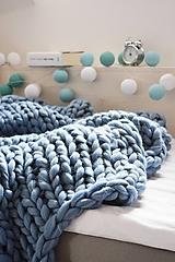 Úžitkový textil - Chunky deka modrá - 100% ovčia vlna - 11252621_