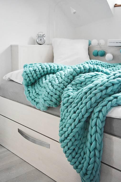 Chunky deka tyrkysová - 100% ovčia vlna