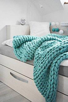 Úžitkový textil - Chunky deka tyrkysová - 100% ovčia vlna - 11252586_