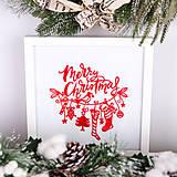 Obrázky - Vyšívaný obraz Merry Christmas - 11254099_