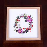Obrázky - Vyšívaný obraz kvetinový veniec - 11254170_