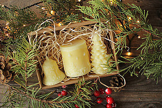 Svietidlá a sviečky - Vianočná SADA sviečok V DARČEKOVOM BALENÍ (Žltá) - 11250559_