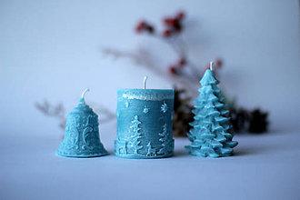 Svietidlá a sviečky - Vianočná SADA sviečok V DARČEKOVOM BALENÍ (Modrá) - 11250562_