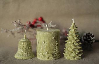 Svietidlá a sviečky - Vianočná SADA sviečok V DARČEKOVOM BALENÍ (Olivovo zelená) - 11250573_