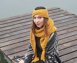 Čiapky - Set medovo - žltý s metalickým vláknom - 11250439_