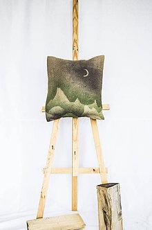 Úžitkový textil - Jutový dekoračný vankúš - Mesačné hory - 11250903_