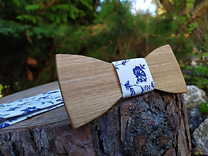 Doplnky - Pánsky drevený motýlik a traky - 11251808_