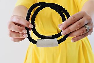 Náhrdelníky - Tube on rope - Gray on black - 11250800_