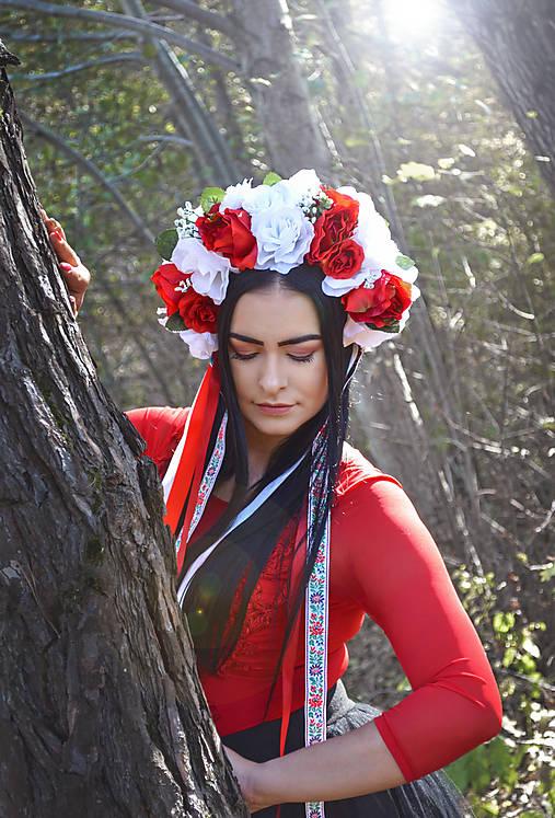 Kvetinová parta - čelenka - folklórna - červená