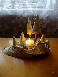 Dekorácie - Zimný les - dekorácia so sviečkou - 11252396_