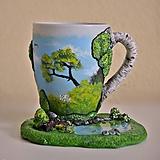 Nádoby - Čaj v brezovom háji - šálka s podšálkou - 11253223_