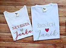 Tričká - Svadobné tričko pre nevestu a ženícha - 11253959_