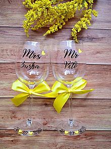 Nádoby - Svadobné poháre MR & MRS žlté - 11253413_