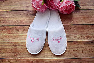 Obuv - Svadobné papučky pre nevestu - 11253581_
