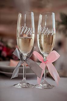 Nádoby - Svadobné poháre MR & MRS sivo ružové - 11253680_