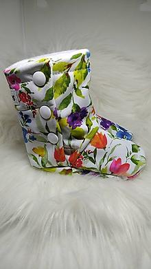 Topánočky - Softshellové čižmičky Kvietky 3-6 mesiacov - 11253920_