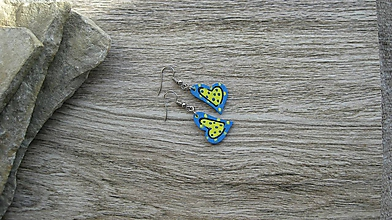 Náušnice - Drevené maľované náušnice malé srdiečka. (modro žlté, č. 2987) - 11252173_