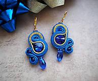 Náušnice - Šujtášové náušnice Blue World - 11253089_