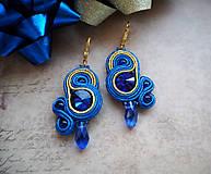 Náušnice - Šujtášové náušnice Blue World - 11253090_