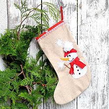 Dekorácie - Vianočná ponožka (Vianočná ponožka Snehuliak) - 11251152_