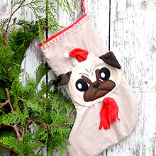 Dekorácie - Vianočná ponožka (Vianočná ponožka Mopsík) - 11251154_