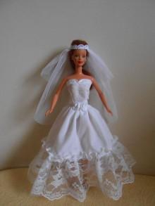 Hračky - Svadobné šaty so závojom pre barbie - 11252158_