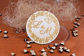 Darčeky pre svadobčanov - Drevená svadobná magnetka Ľudový motív 15 - 11250736_