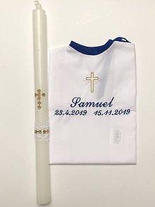 Detské oblečenie - košieľka na krst k03 a sviečka na krst zlatý krížik - 11254221_