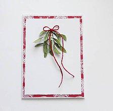 Papiernictvo - Vianočná pohľadnica, imelo - 11256217_