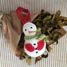 Dekorácie - Vianočná ozdoba snehuliak - 11255770_