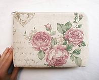 Taštičky - Taštička objemná väčšia - Vintage ruže - 11258105_