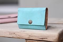 Peňaženky - Korková peňaženka S - tyrkysová - 11257365_