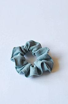 Ozdoby do vlasov - Scrunchie gumička dymovo zelená - 11255333_