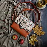 Kabelky - Kožená kabelka (ručne maľovaná Jarabinky) - 11255237_