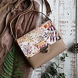 Kabelky - Kožená kabelka (ručne maľovaná Listy) - 11255258_