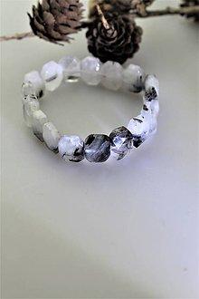 Náramky - turmalín náramok ochranný (skoryl v kremeni) - 11258045_