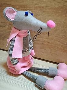 Dekorácie - vianočná myška ružová - 11257496_