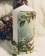 Svietidlá a sviečky - Vianočná sviečka - Zimné radosti - 11257231_