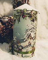 Svietidlá a sviečky - Vianočná sviečka - Zimné radosti - 11257232_