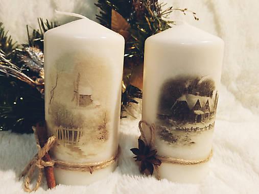 Sada vianočných sviečok - Zimná krajina