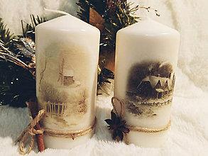 Svietidlá a sviečky - Sada vianočných sviečok - Zimná krajina - 11257175_