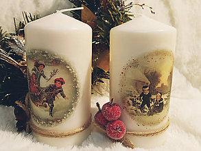 Svietidlá a sviečky - Sada vianočných sviečok - Deti v zime - 11257217_