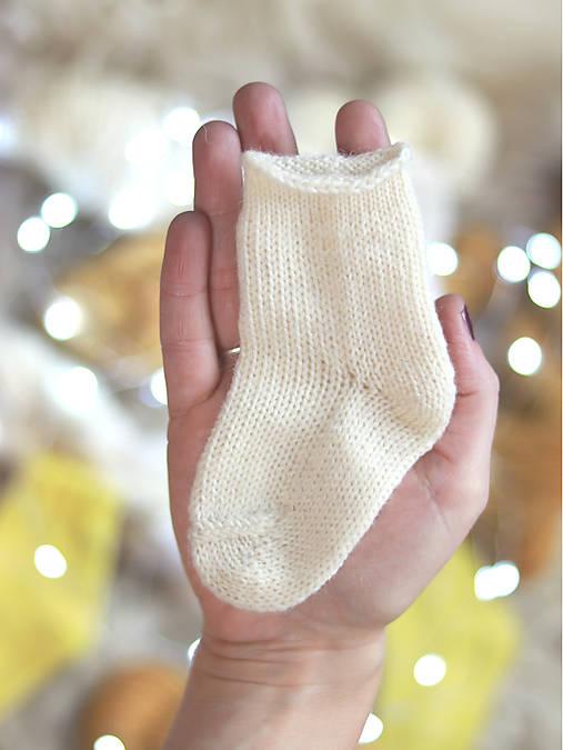 Topánočky - NATURAL - Pletené vlnené ponožky  - 11255950_