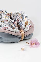 """Šatky - Veľký dvojitý ľanový kvetinový nákrčník """"Isadora"""" - 11257700_"""