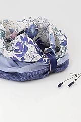 """Šatky - Modrý kvetinový nákrčník z ľanu """"Bluegarden"""" - 11257932_"""