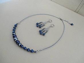 Sady šperkov - Náhrdelník s náušnicami - modro/sivé - chirurgická oceľ - 11255056_