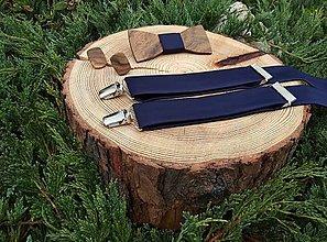 Doplnky - Pánsky drevený motýlik , manžetové gombíkya traky - 11255432_