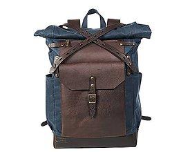 Batohy - Modrý batoh z kože a voskovaného plátna. Roll top ruksak. (Veľký) - 11258613_