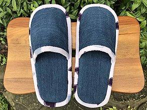 Obuv - Modré riflové papuče s fialovým lemom - 11256792_