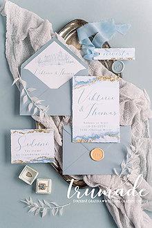 Papiernictvo - Svadobné oznámenia - Dusty blue - 11257461_